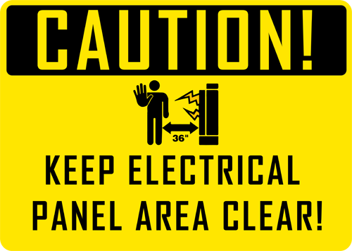 Caution Keep Electrical Panel Area Clear